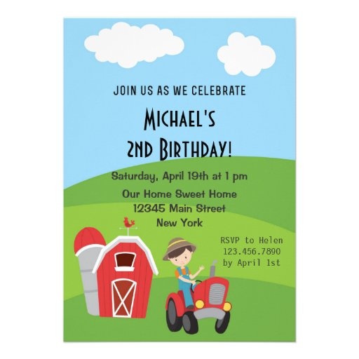 Invitación de la fiesta de cumpleaños de la granja