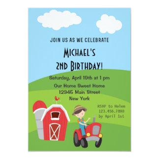 Invitación de la fiesta de cumpleaños de la granja invitación 12,7 x 17,8 cm