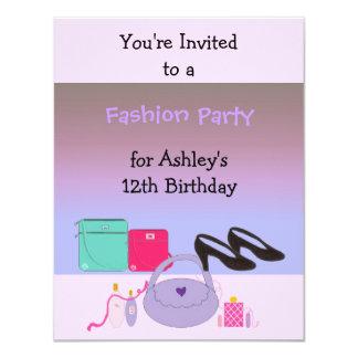 Invitación de la fiesta de cumpleaños de la moda invitación 10,8 x 13,9 cm