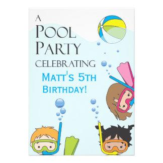 Invitación de la fiesta de cumpleaños de la piscin