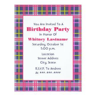 Invitación de la fiesta de cumpleaños de la tela
