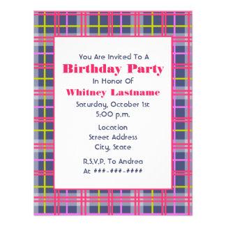 Invitación de la fiesta de cumpleaños de la tela e