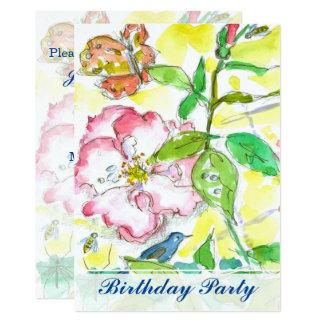 Invitación de la fiesta de cumpleaños de los rosas
