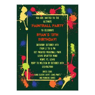 Invitación de la fiesta de cumpleaños de Paintball