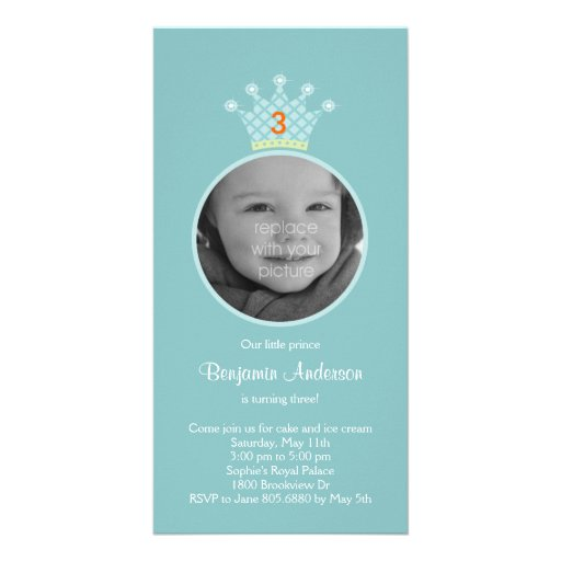 Invitación de la fiesta de cumpleaños de príncipe  tarjeta personal