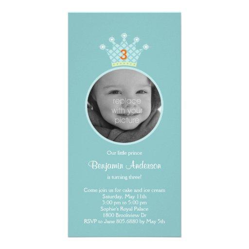 Invitación de la fiesta de cumpleaños de príncipe  tarjetas personales con fotos