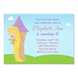 Invitación de la fiesta de cumpleaños de Rapunzel Invitación 12,7 X 17,8 Cm