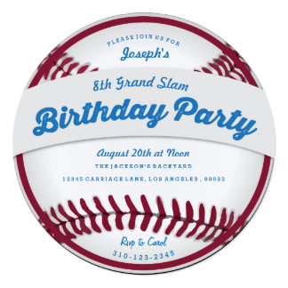 Invitación de la fiesta de cumpleaños del béisbol invitación 13,3 cm x 13,3cm