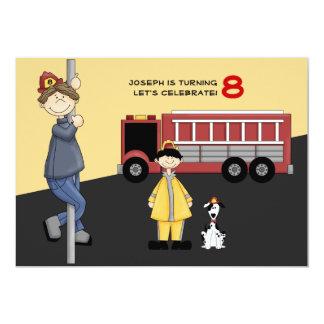 Invitación de la fiesta de cumpleaños del bombero invitación 12,7 x 17,8 cm