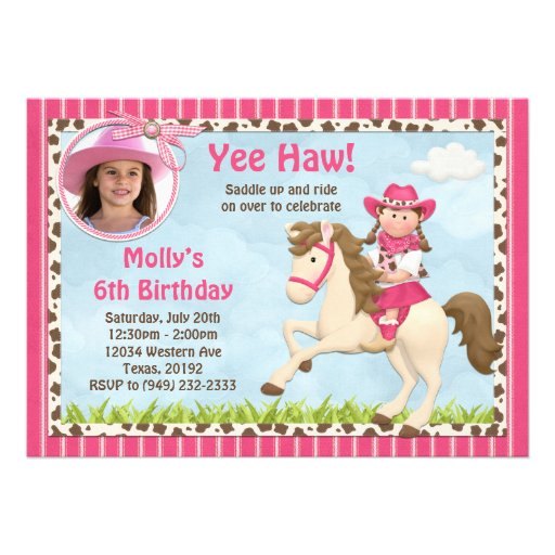 Cowgirl Birthday Party Invitations as best invitations example