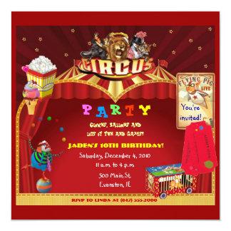 invitación de la fiesta de cumpleaños del circo
