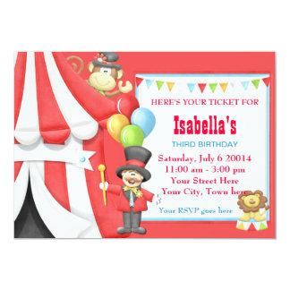 Invitación de la fiesta de cumpleaños del circo invitación 12,7 x 17,8 cm