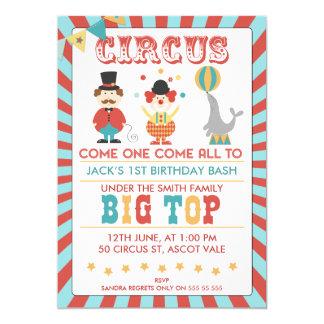 Invitación de la fiesta de cumpleaños del circo de