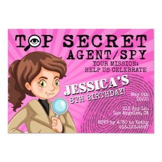 Invitación de la fiesta de cumpleaños del espía