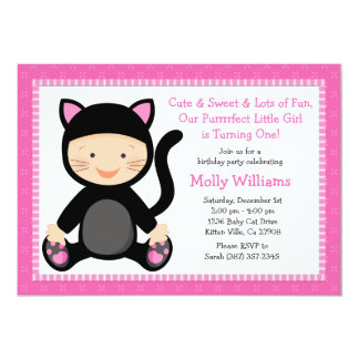 Invitación de la fiesta de cumpleaños del gato del invitación 12,7 x 17,8 cm