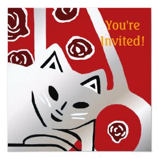 Invitación de la fiesta de cumpleaños del gato del invitación 13,3 cm x 13,3cm