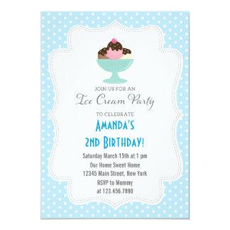 Invitación de la fiesta de cumpleaños del helado invitación 12,7 x 17,8 cm