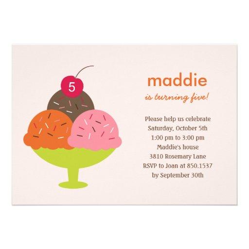 Invitación de la fiesta de cumpleaños del helado d