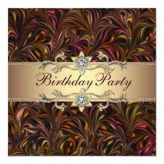 Invitación de la fiesta de cumpleaños del oro del