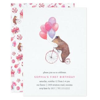 Invitación de la fiesta de cumpleaños del oso del