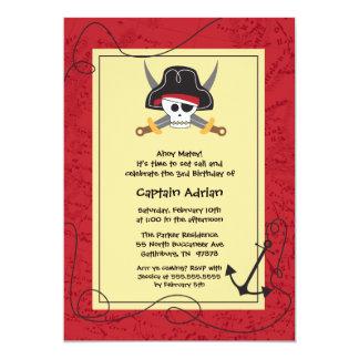 Invitación de la fiesta de cumpleaños del pirata invitación 12,7 x 17,8 cm