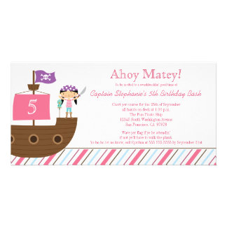 Invitación de la fiesta de cumpleaños del pirata d tarjetas con fotos personalizadas