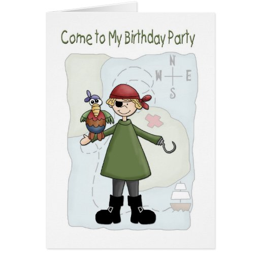 Invitación de la fiesta de cumpleaños del pirata felicitación