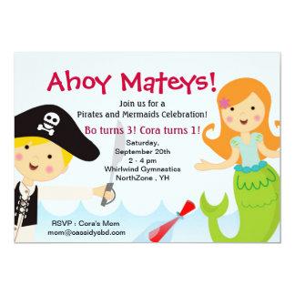 Invitación de la fiesta de cumpleaños del pirata y invitación 12,7 x 17,8 cm
