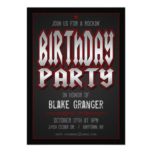 Invitación de la fiesta de cumpleaños del rock-and