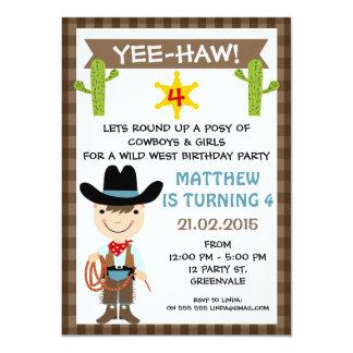 Invitación de la fiesta de cumpleaños del vaquero