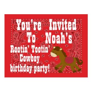Invitación de la fiesta de cumpleaños del vaquero postal