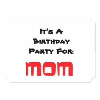 Invitación de la fiesta de cumpleaños, mamá, invitación 12,7 x 17,8 cm