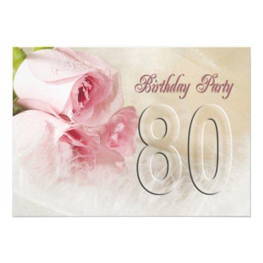 Invitación de la fiesta de cumpleaños por 80 años de Zazzle.