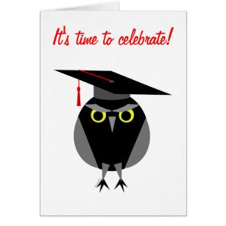 Invitación de la fiesta de graduación del búho de tarjeta pequeña