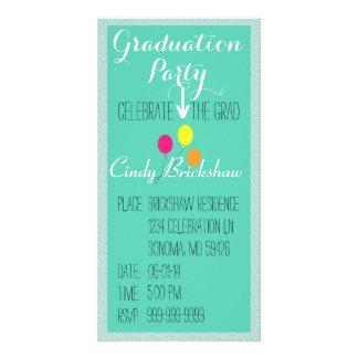 Invitación de la fiesta de graduación plantilla para tarjeta de foto