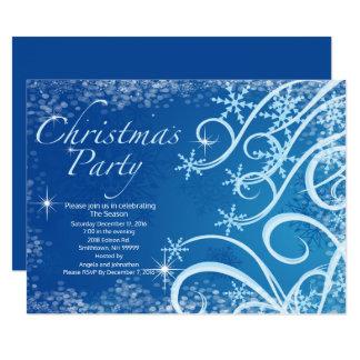Invitación de la fiesta de Navidad de los copos de