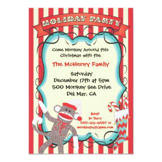 Invitación de la fiesta de Navidad del mono del