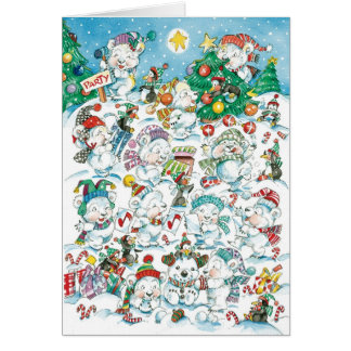 Invitación de la fiesta de Navidad - osos polares Tarjeta De Felicitación