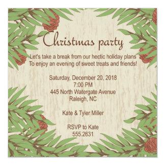 Invitación de la fiesta de Navidad, picea