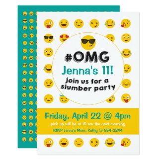 Invitación de la fiesta de pijamas de Emoji
