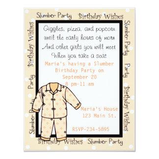 Invitación de la fiesta de pijamas del cumpleaños