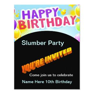Invitación de la fiesta de pijamas del feliz invitación 10,8 x 13,9 cm