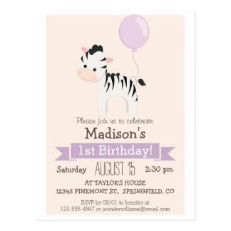 Invitación de la fiesta del cumpleaños del chica tarjetas postales