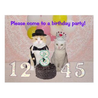 Invitación de la fiesta del cumpleaños del niño postal