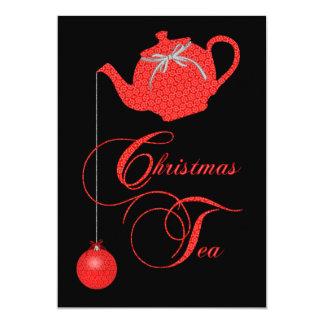 Invitación de la fiesta del té del navidad,