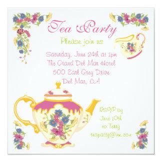 Invitación de la fiesta del té del pote del té del
