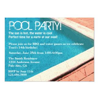 Invitación de la fiesta en la piscina invitación 12,7 x 17,8 cm