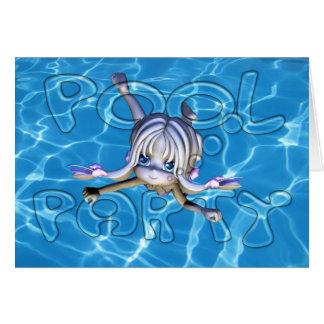 Invitación de la fiesta en la piscina con la tarjeta de felicitación