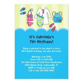 Invitación de la fiesta en la piscina del invitación 12,7 x 17,8 cm