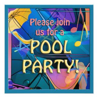 Invitación de la fiesta en la piscina del cóctel